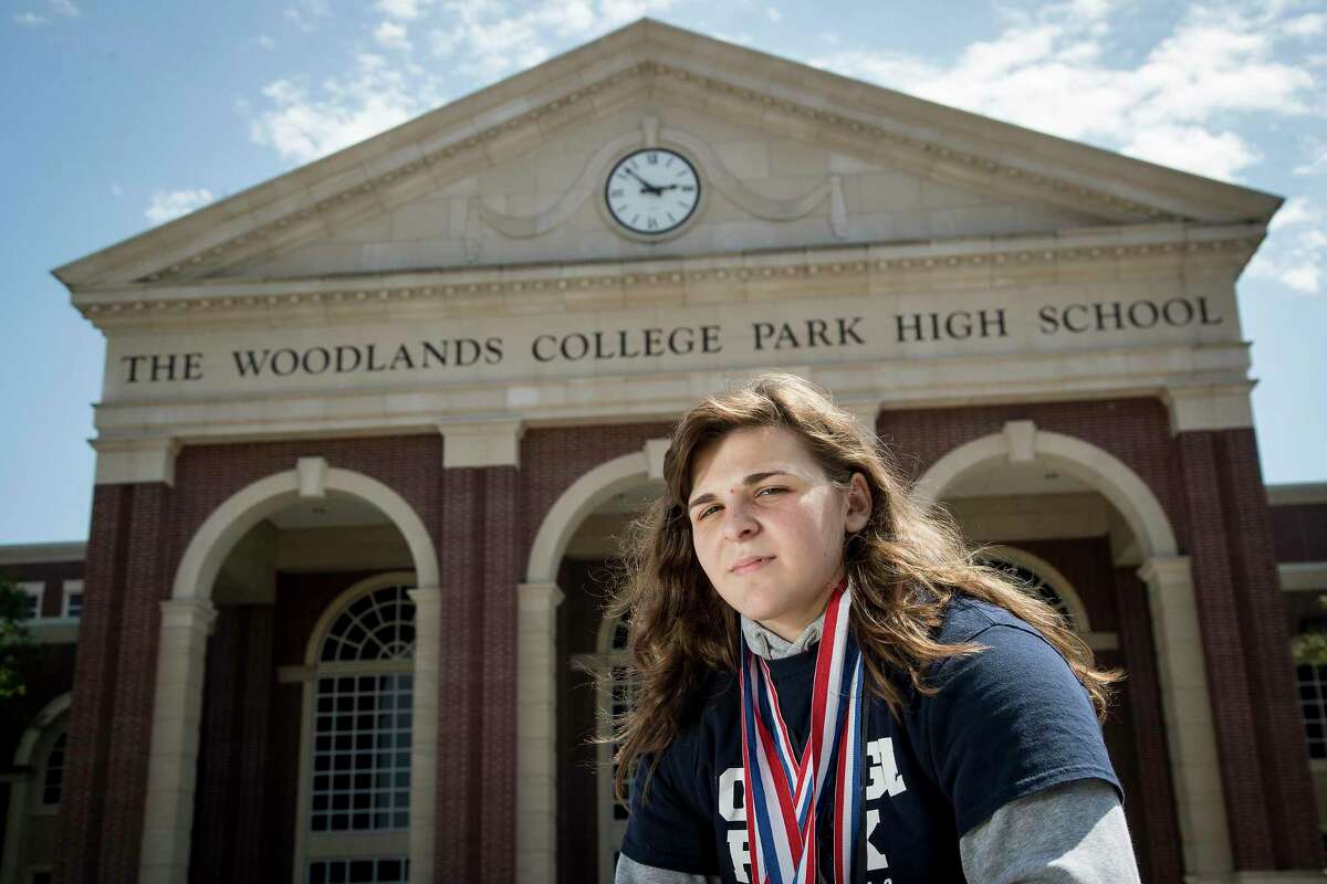 The Woodlands College Park High School's Brittyn Corbishley poses for a photo last year after being named the Greater Houston Wrestler of the Year by the Houston Chronicle. Corbishley wrestles this Saturday at the state meet for the fourth time in her career and attempting to claim her second gold medal.