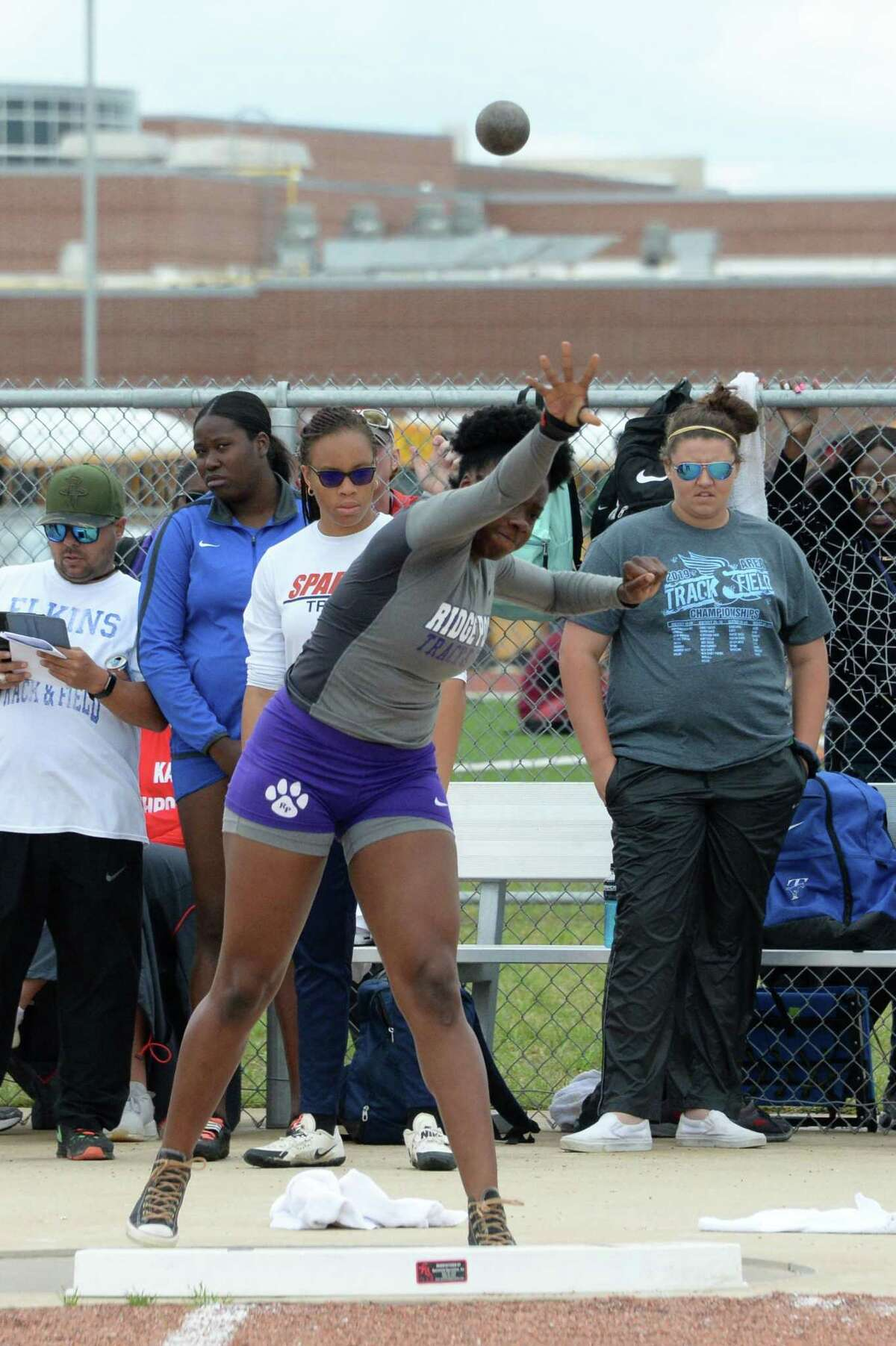Jordan Houston of Ridge Point competes in the shot put competition during the District 19/20, Region III - 6A Area Track & Field Meet on Thursday April 18, 2019 at the Paetow High School, Katy, TX.
