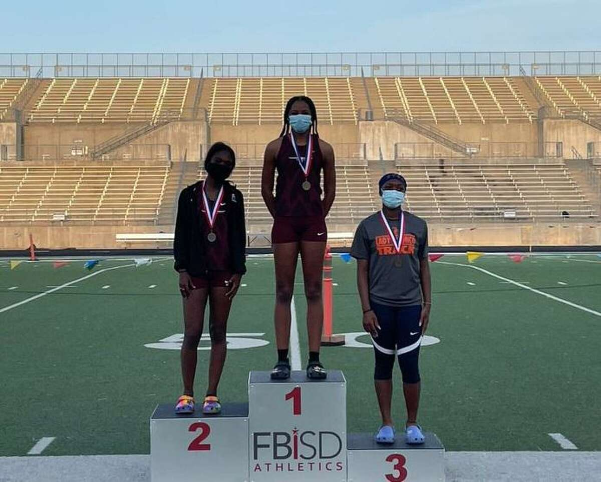 George Ranch's Alexis Tilford-Rutherford and Genesis Griffin, and Bush's Mikaila Williams were the top three in the long jump at the District 20-6A championships. Tilford-Rutherford's mark of 20 feet, 2 ½ inches holds the No. 1 ranking in the state entering regional competition.