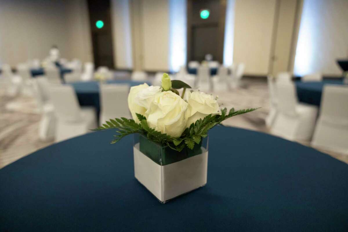 A center piece is seen for the Oak Ridge High School prom at Houston CityPlace Marriott at Springwoods Village, Saturday, April 17, 2021, in Spring. School administrators ensured that they would take measures to prevent the spread of COVID-19.