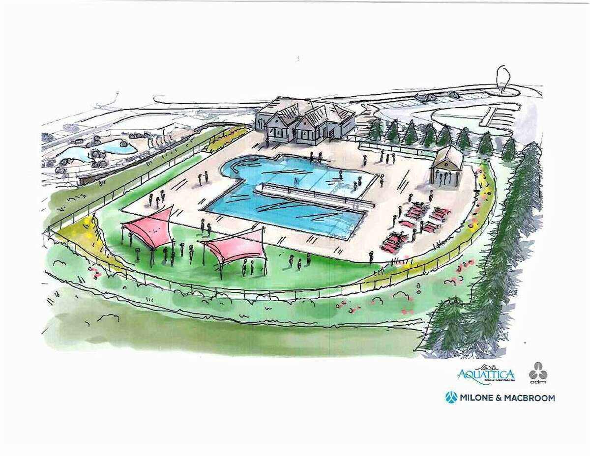 An edm artist's rendering of the renovated Veterans Memorial Pool and splash pad for the city of Middletown shows a landscaped complex. The $213.25 million budget passed Monday will pay for new parks maintenance employee who will monitor upgrades such as these.