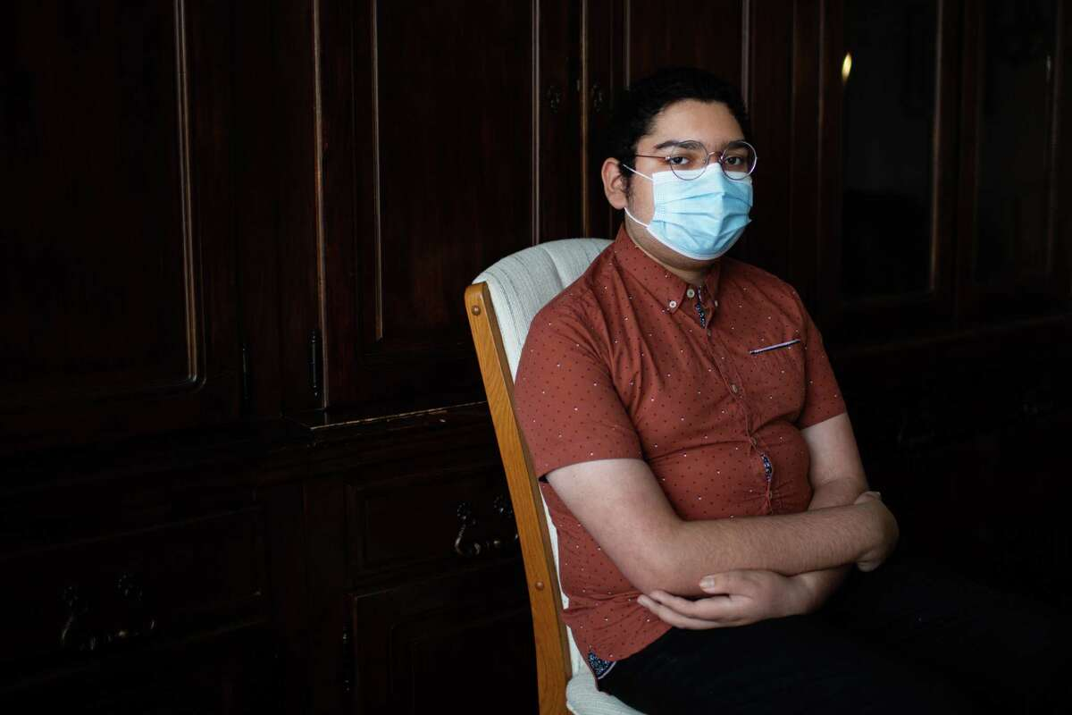 Jose Chavez,17, sits for a portrait at the home he is living at temporarily with his family, Monday, April 19, 2021, in Houston while he is treated by Houston medical staff after getting a double lung transplant in January 2021. Chavez had to undergo the double lung transplant after COVID-19 severely damaged his original lungs.