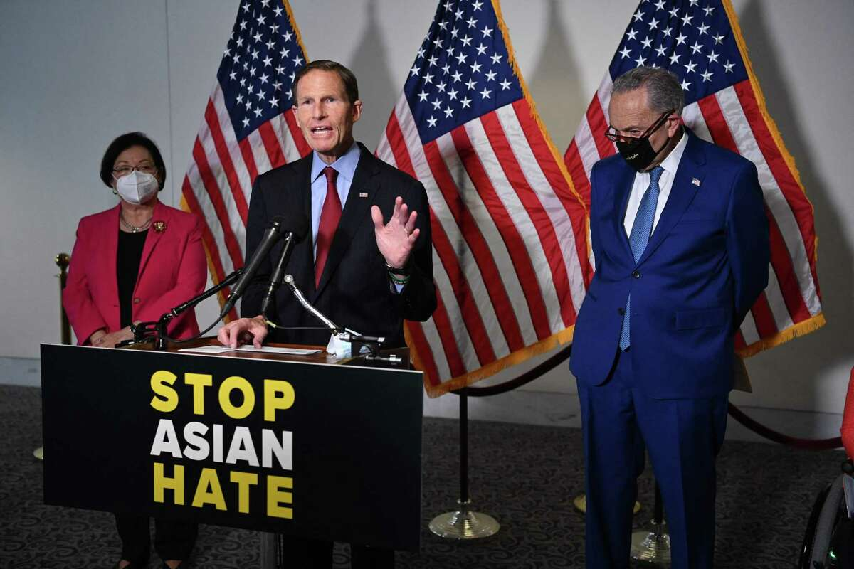 Sen. Richard Blumenthal(C) D-CT speaks to reporters about anti-Asian Hate Legislation in the Hart Senate Office Building on Capitol Hill in Washington, DC on April 20, 2021, next to Senate Majority Leader Chuck Schumer(R) and Senator Mazie Hirono (D-HI). (Photo by MANDEL NGAN / AFP) (Photo by MANDEL NGAN/AFP via Getty Images)