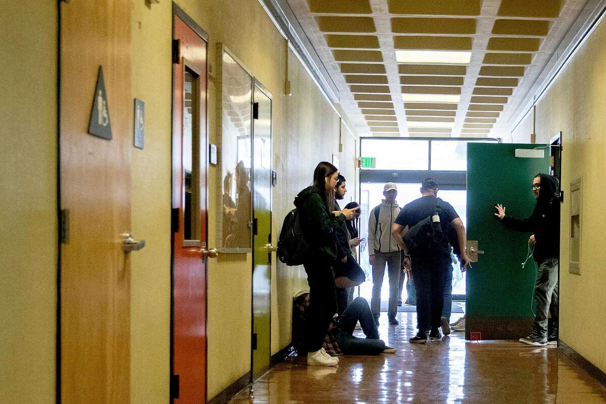 Students leave classes inside the Creative Arts building at City College of San Francisco's Ocean Campus in February 2020.