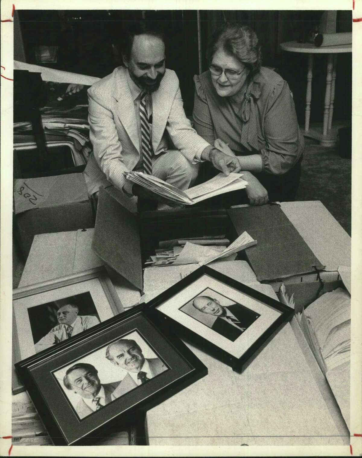 Billie Carr, Democratic Political Official. Billie Carr, right, and Rice University's Chandler Davidson examined some of Ms. Carr's papers and some of the historic photos shown here that will be included in a Rice library planned for students of politics.