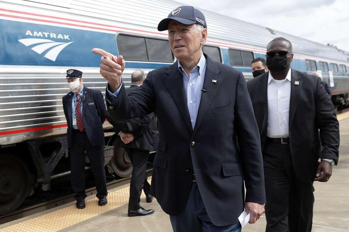 Joe Biden visits the Amtrak station in Alliance, Ohio, last year.