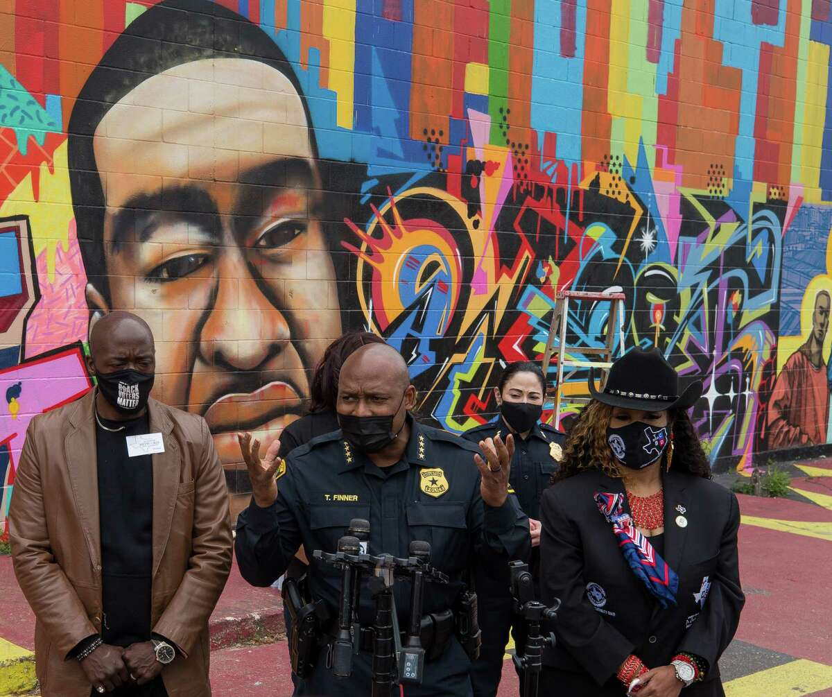 Houston Police Chief Troy Finner talks to reporters about a George Floyd mural that was vandalized on Thursday, April 22, 2021, in the East Downtown neighborhood in Houston.