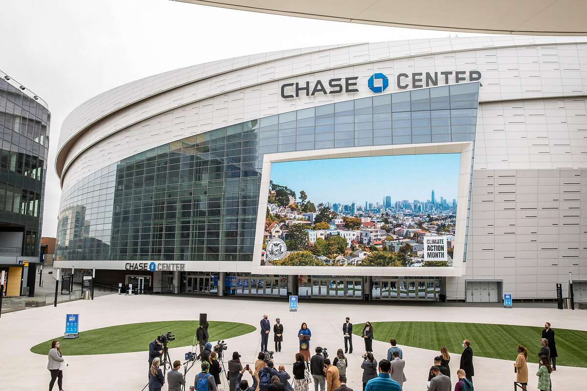 San Francisco Mayor London Breed announces new carbon-neutral goals during a news conference at the Chase Center in Mission Bay on Thursday.