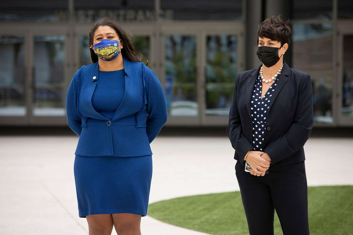 San Francisco Mayor London Breed and Kim Stone, Chase Center's general manager with the Golden State Warriors, during a news conference at Chase Center on Thursday to announce new greenhouse gas and power goals.