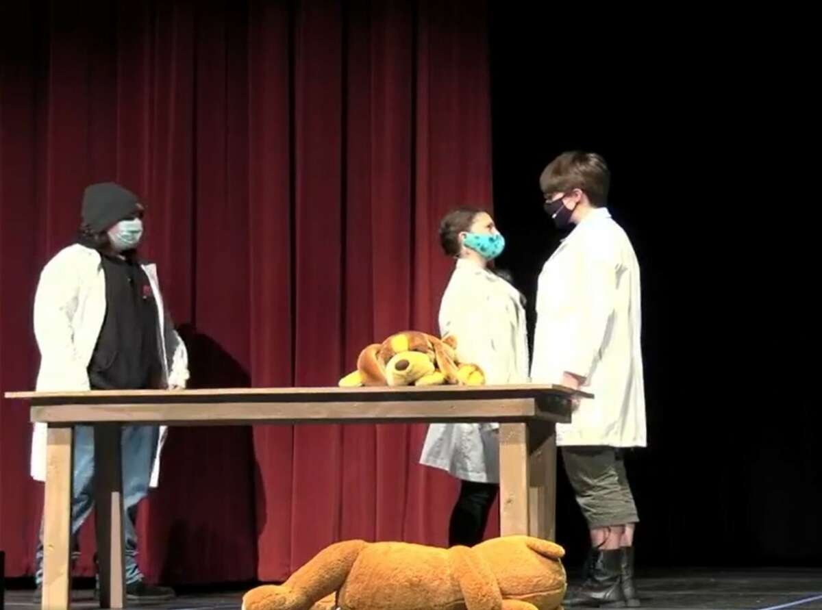 """Students in the Manistee Middle High School drama program perform the one-act play, """"Bad Ideas for Bad Television Shows,"""" during a virtual theater showcase on April 9."""