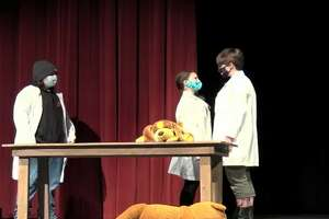 "Students in the Manistee Middle High School drama program perform the one-act play, ""Bad Ideas for Bad Television Shows,"" during a virtual theater showcase on April 9."