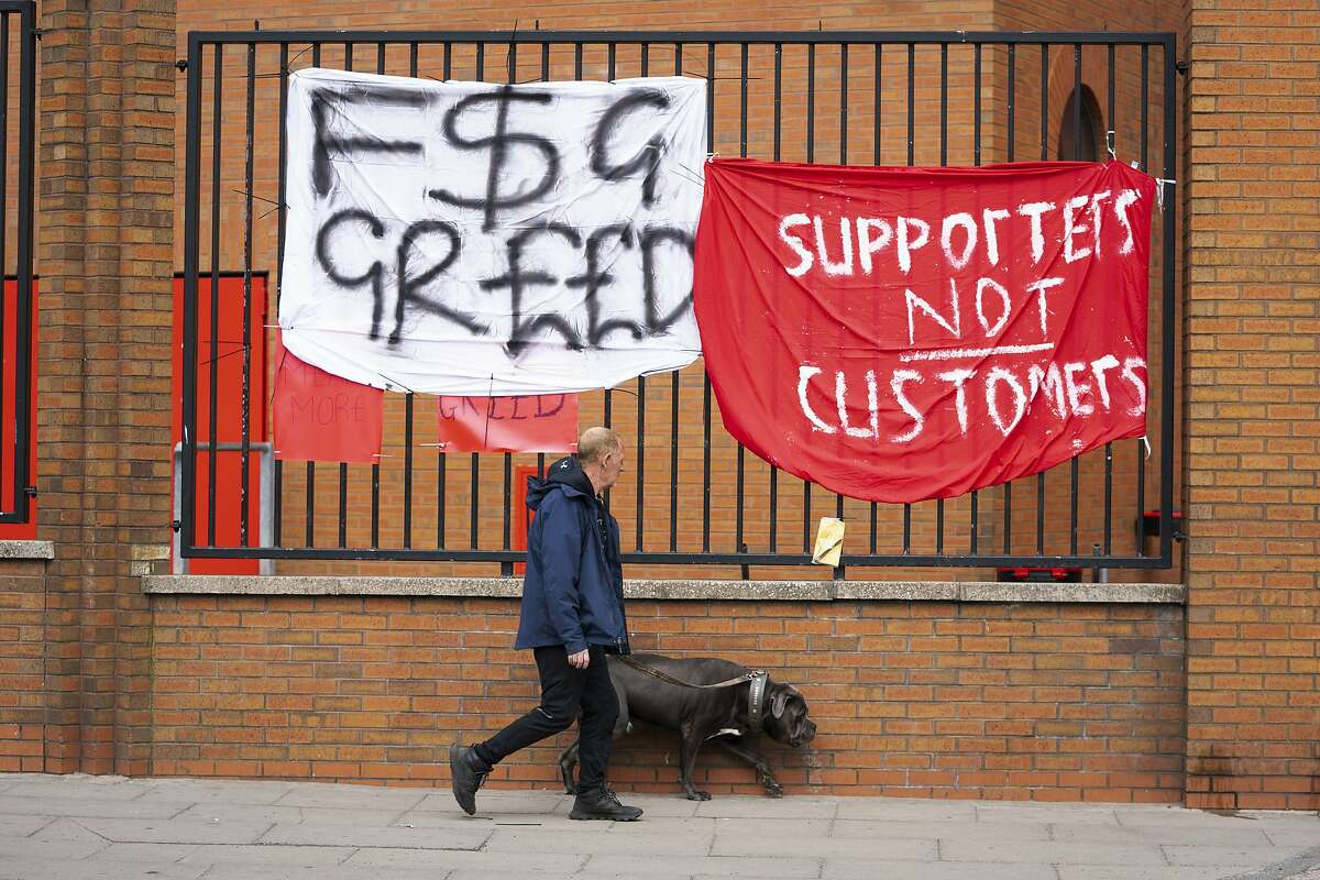 Banners are seen outside Liverpool's Anfield Stadium after the collapse of English involvement in the proposed European Super League,