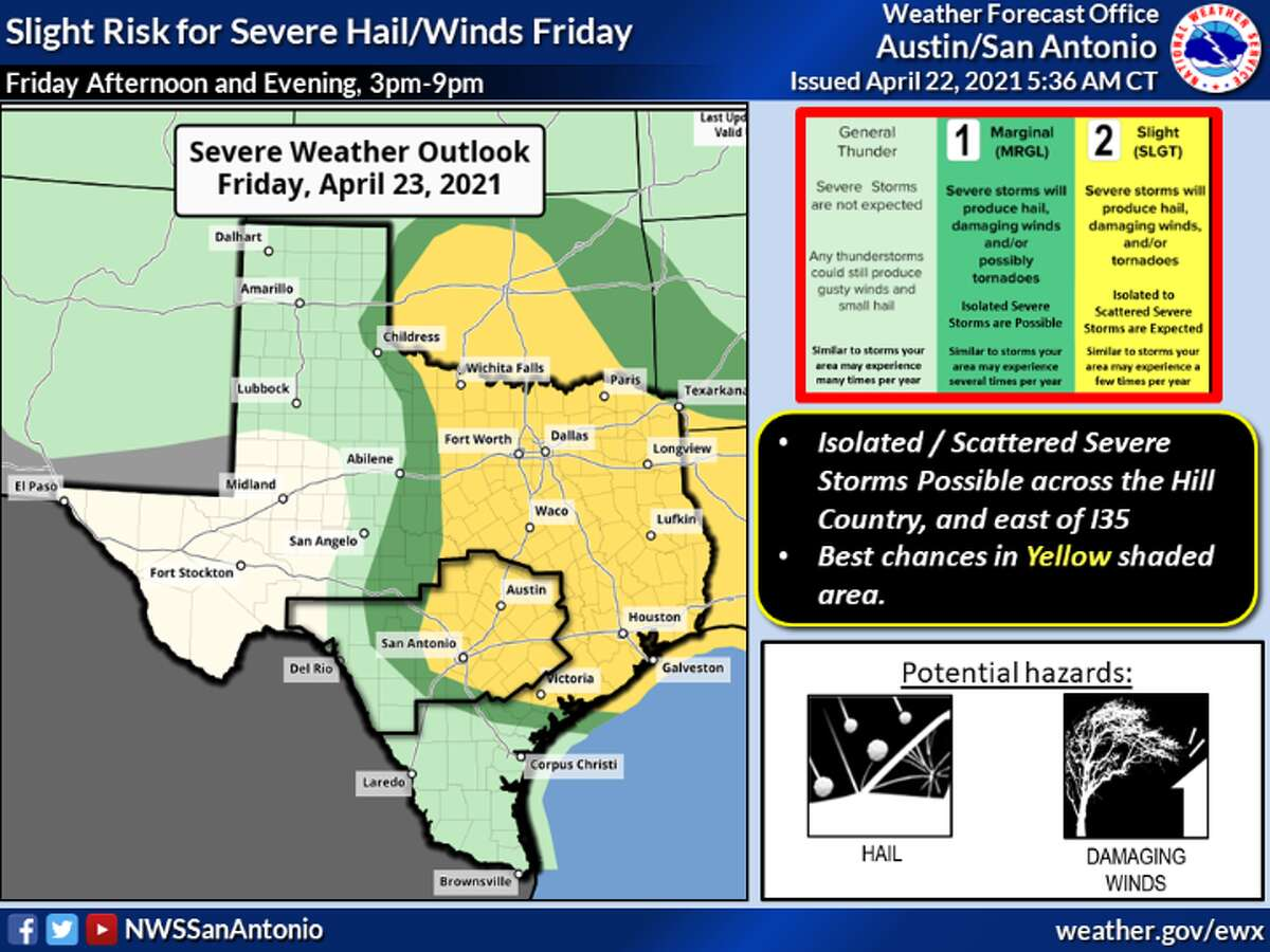 San Antonio area has a slight risk for severe weather, according to forecasters.
