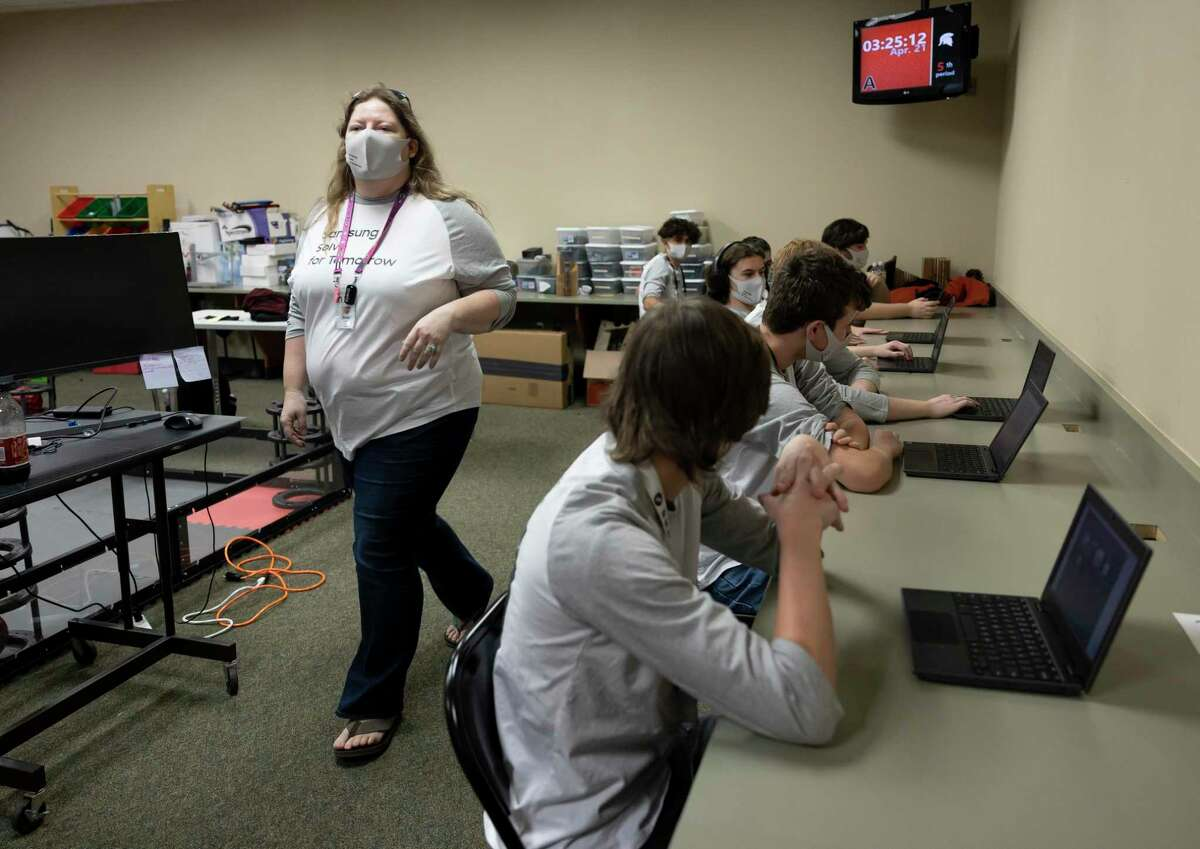Autumn Dowdy, teacher at Porter High School, leads students to log onto Zoom, Wednesday, April 22, 2021, in Porter. The team won $65,000 from the Samsung Solve for Tomorrow for making it to the top 10 and will receive $130,000 if they win nationally.
