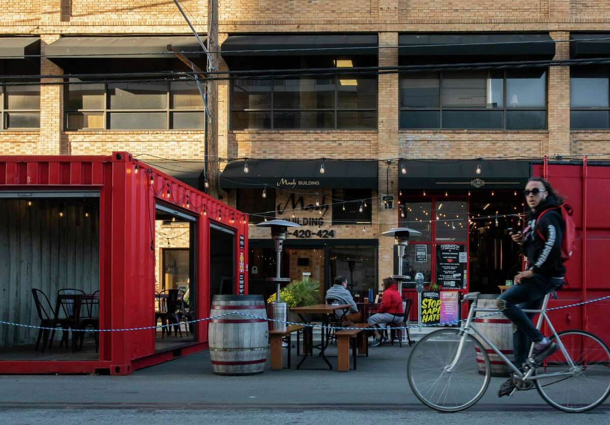 Federation Brewing's outdoor space near Jack London Square is bookended by open-sided shipping containers.