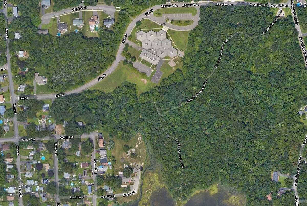 An aerial viwe of the land around the former D.C. Moore School in East Haven.