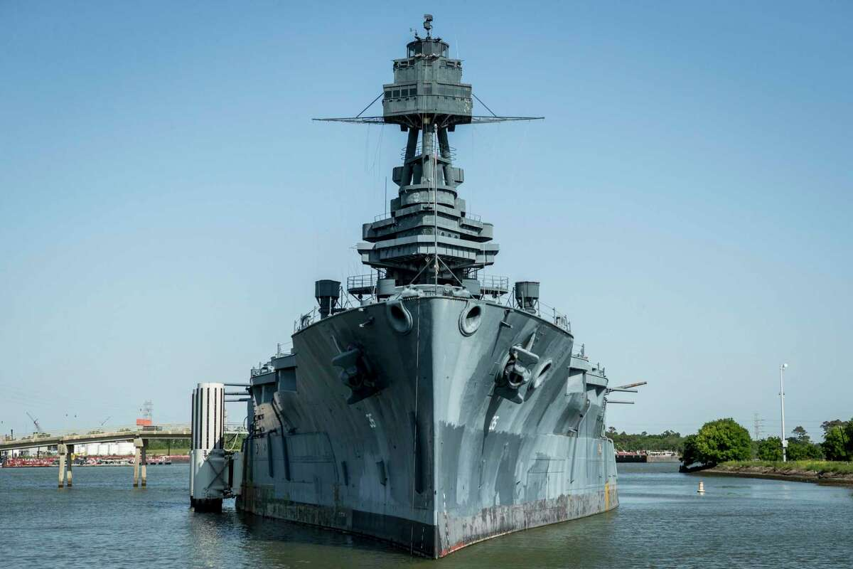 The Battleship Texas is shown Wednesday, April 21, 2021 in La Porte. TheTexas has been undergoing extensive renovations since it closed to the public in early 2020. Preparations are being made to transport the ship to an as-yet-unidentified dry dock to repair its leaky hull. Volunteers continue to put hundreds of hours into repairing some of the battleship's guns, the ship's bell, and other features.