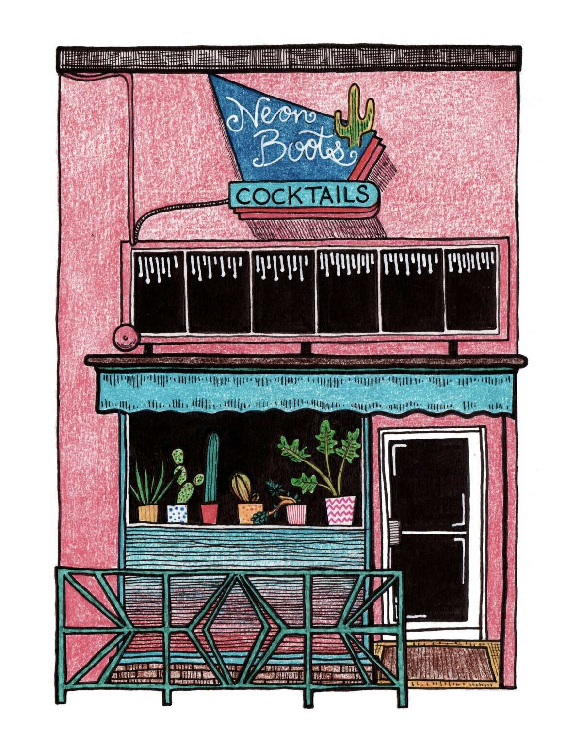 Neon Boots (Belltown) made in 2020 with India ink, colored pencil and gouache on paper.