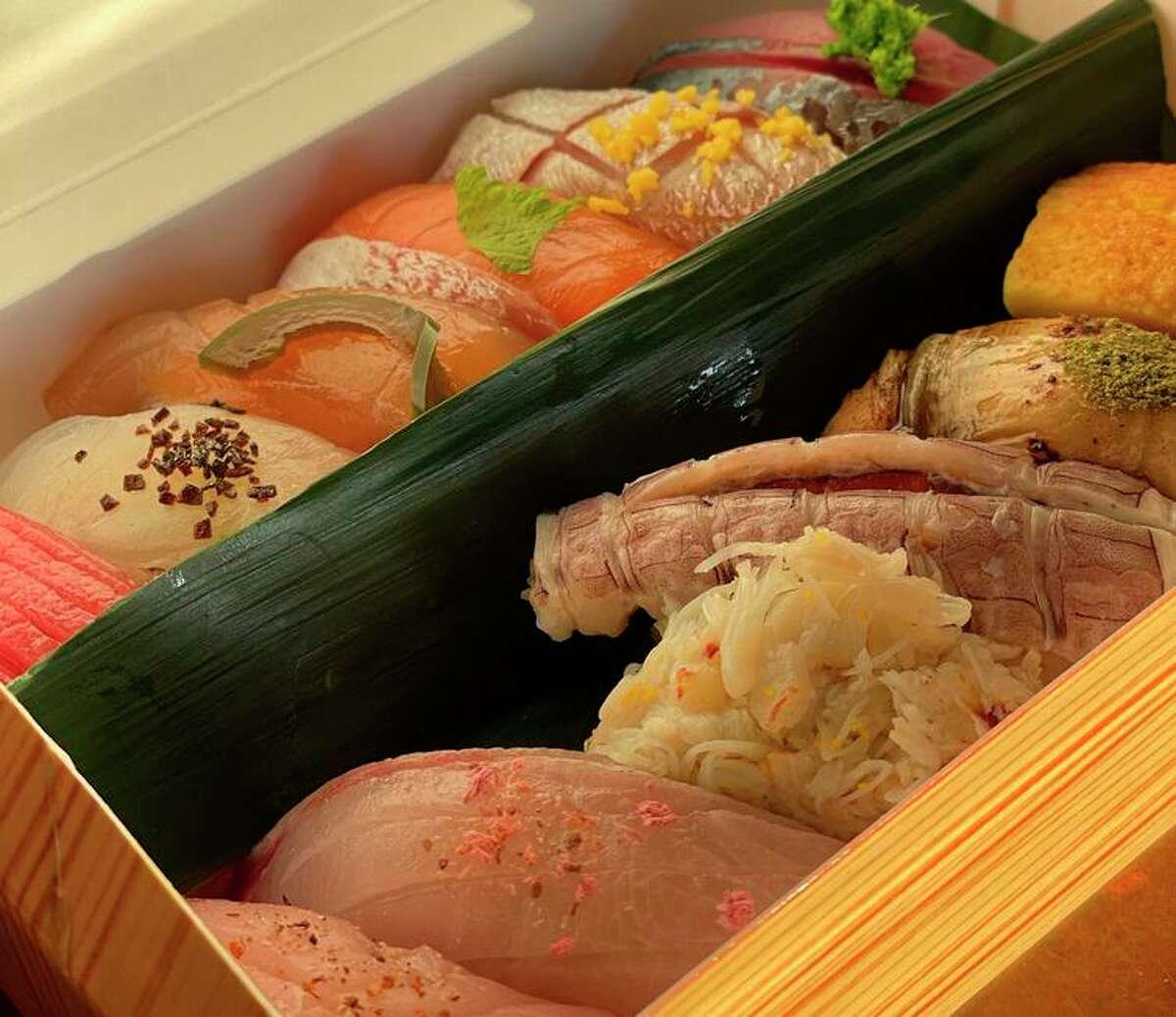 The takeout omakase from Sushi Salon, a pop-up by former Utzutzu employees Joji Nonaka and Anna Osawa.