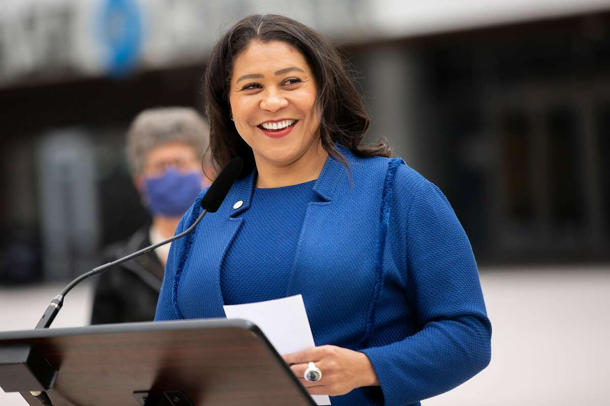 Mayor London Breed during a news conference at Chase Center, Thursday, April 22, 2021, in San Francisco, Calif. The city's leaders will announced that S.F. is accelerating two of its climate policy goals. First, the city will commit to supplying 100% carbon-free electricity to CleanPowerSF customers by 2025, 5 years faster than originally planned. Second, the city will seek to become carbon-neutral, emitting no greenhouse gases into the atmosphere, by 2045 instead of 2050.