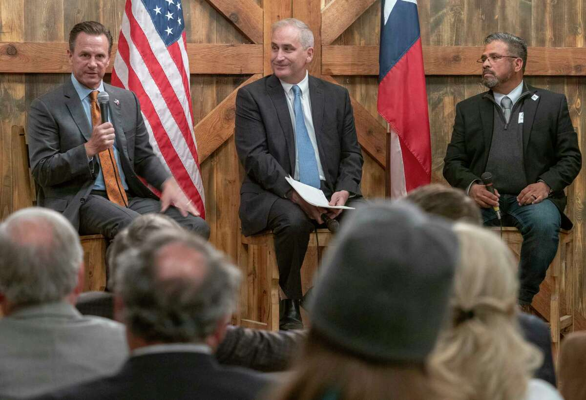 The Midland Liberty Leadership Council hosts Conversations with the Mayors, Midland Mayor Patrick Payton and Odessa Mayor Javier Joven, moderated by Midland Reporter-Telegram Editor Stewart Doreen 04/22/2021 at Rolling 7's Event Center. Tim Fischer/Reporter-Telegram