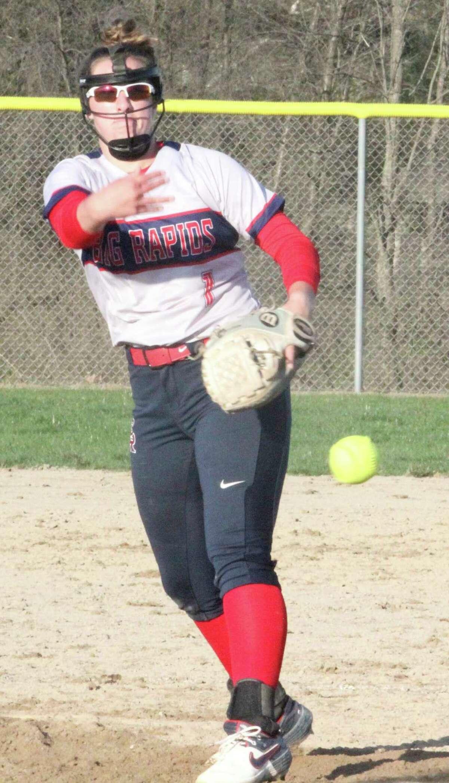 Big Rapids' Rylie Haist has had a strong beginning to her sophomore softball season. (Pioneer photo/John Raffel)