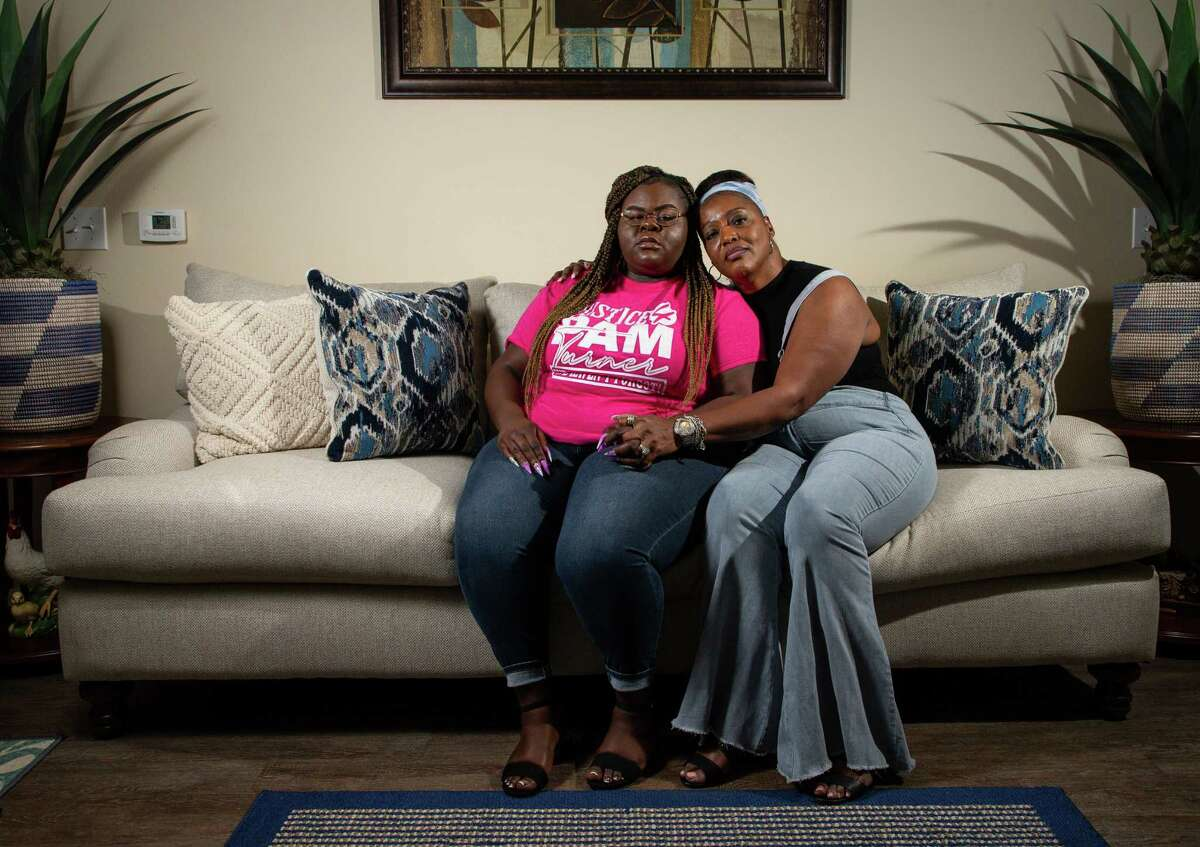 Chelsie Rubin, left, and her aunt Antoinette Dorsey-James - daughter and sister of Pamela Turner respectively - pose for a photograph on Thursday, April 22, 2021, in Houston. In the wake of a former Minneapolis police officer's watershed murder conviction in the death of George Floyd, civil rights leaders are turning their attention to other cases of police violence against Black Americans, including the Houston-area 2019 shooting death of Pamela Turner.