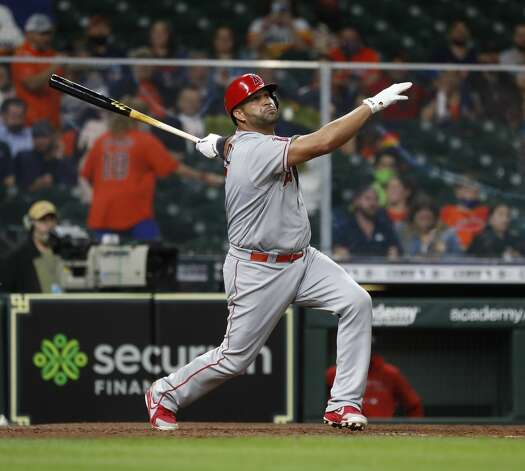 Los Angeles Angels Albert Pujols (5) hits a two-run home run off of Houston Astros pitcher Bryan Abreu during the sixth inning of an MLB baseball game at Minute Maid Park, Thursday, April 22, 2021, in Houston. Photo: Karen Warren/Staff Photographer / @2021 Houston Chronicle