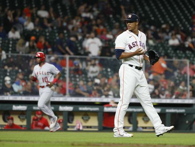Houston Astros pitcher Bryan Abreu reacts after Los Angeles Angels Albert Pujols (5) hit a two-run home during the sixth inning of an MLB baseball game at Minute Maid Park, Thursday, April 22, 2021, in Houston. Photo: Karen Warren/Staff Photographer / @2021 Houston Chronicle