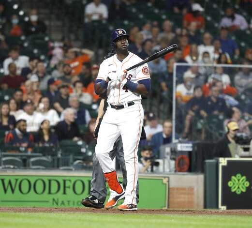 Houston Astros designated hitter Yordan Alvarez (44) strikes out during the third inning of an MLB baseball game at Minute Maid Park, Thursday, April 22, 2021, in Houston. Photo: Karen Warren/Staff Photographer / @2021 Houston Chronicle