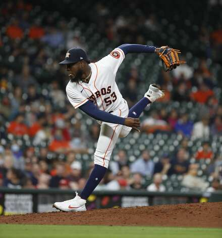 Houston Astros starting pitcher Cristian Javier (53) pitches during the fourth inning of an MLB baseball game at Minute Maid Park, Thursday, April 22, 2021, in Houston. Photo: Karen Warren/Staff Photographer / @2021 Houston Chronicle