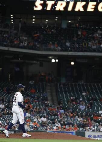Houston Astros starting pitcher Cristian Javier (53) after striking out Los Angeles Angels Justin Upton during the fourth inning of an MLB baseball game at Minute Maid Park, Thursday, April 22, 2021, in Houston. Photo: Karen Warren/Staff Photographer / @2021 Houston Chronicle