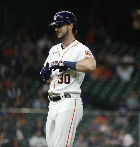 Houston Astros Kyle Tucker (30) reacts after lining out with the bases loaded during the second inning of an MLB baseball game at Minute Maid Park, Thursday, April 22, 2021, in Houston. Photo: Karen Warren/Staff Photographer / @2021 Houston Chronicle
