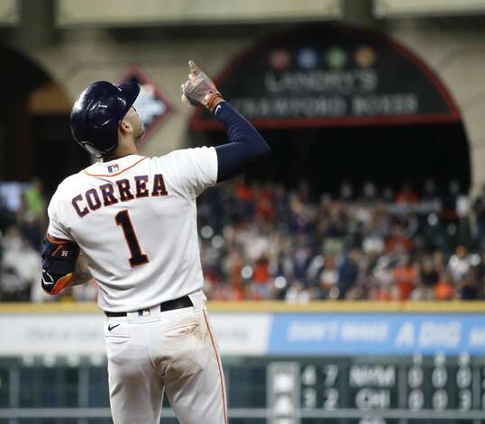 Houston Astros Carlos Correa (1) reacts after his RBI single during the third inning of an MLB baseball game at Minute Maid Park, Thursday, April 22, 2021, in Houston. Photo: Karen Warren/Staff Photographer / @2021 Houston Chronicle
