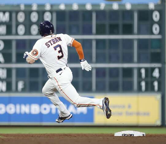 Houston Astros Myles Straw (3) passes second base after hitting a triple during the second inning of an MLB baseball game at Minute Maid Park, Thursday, April 22, 2021, in Houston. Photo: Karen Warren/Staff Photographer / @2021 Houston Chronicle