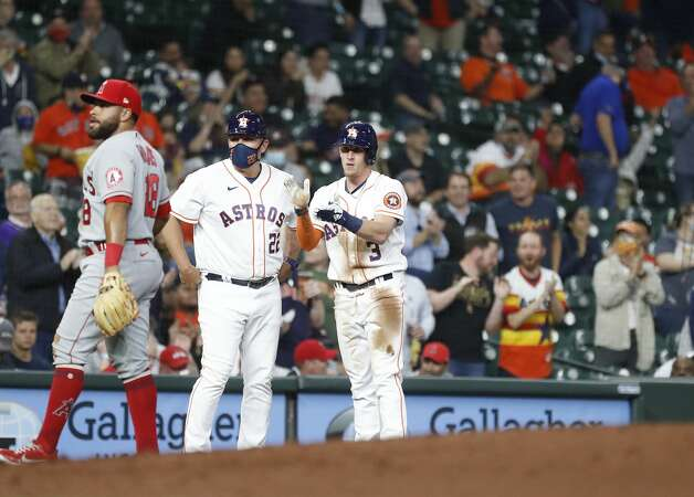 Houston Astros Myles Straw (3)stands on third base after hitting a triple during the second inning of an MLB baseball game at Minute Maid Park, Thursday, April 22, 2021, in Houston. Photo: Karen Warren/Staff Photographer / @2021 Houston Chronicle