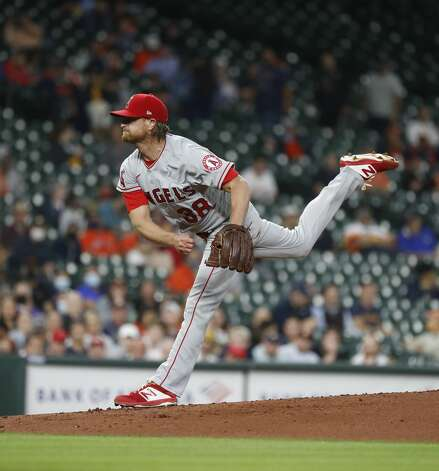 Los Angeles Angels starting pitcher Alex Cobb (38) pitches during the first inning of an MLB baseball game at Minute Maid Park, Thursday, April 22, 2021, in Houston. Photo: Karen Warren/Staff Photographer / @2021 Houston Chronicle