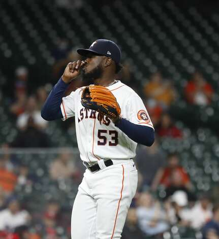 Houston Astros starting pitcher Cristian Javier (53) after getting out of the first inning of an MLB baseball game at Minute Maid Park, Thursday, April 22, 2021, in Houston. Photo: Karen Warren/Staff Photographer / @2021 Houston Chronicle