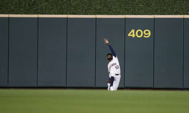 Houston Astros starting pitcher Cristian Javier (53) stretches to warm up before the start of the first inning of an MLB baseball game at Minute Maid Park, Thursday, April 22, 2021, in Houston. Photo: Karen Warren/Staff Photographer / @2021 Houston Chronicle