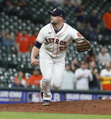 Houston Astros relief pitcher Ryan Pressly (55) reacts after Los Angeles Angels Scott Schebler struck out to end the ninth inning of an MLB baseball game at Minute Maid Park, Thursday, April 22, 2021, in Houston. Astros the Los Angeles Angels 8-2. Photo: Karen Warren/Staff Photographer / @2021 Houston Chronicle