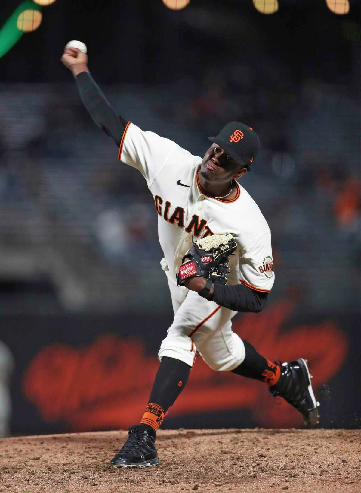 San Francisco Giants' Gregory Santos pitches while making his major league debut against Miami Marlins in 6th inning of MLB game at Oracle Park in San Francisco, Calif., on Thursday, April 22, 2021. Santos struck out the first two batters he faced while retiring the side in order in the top of the 6th inning.