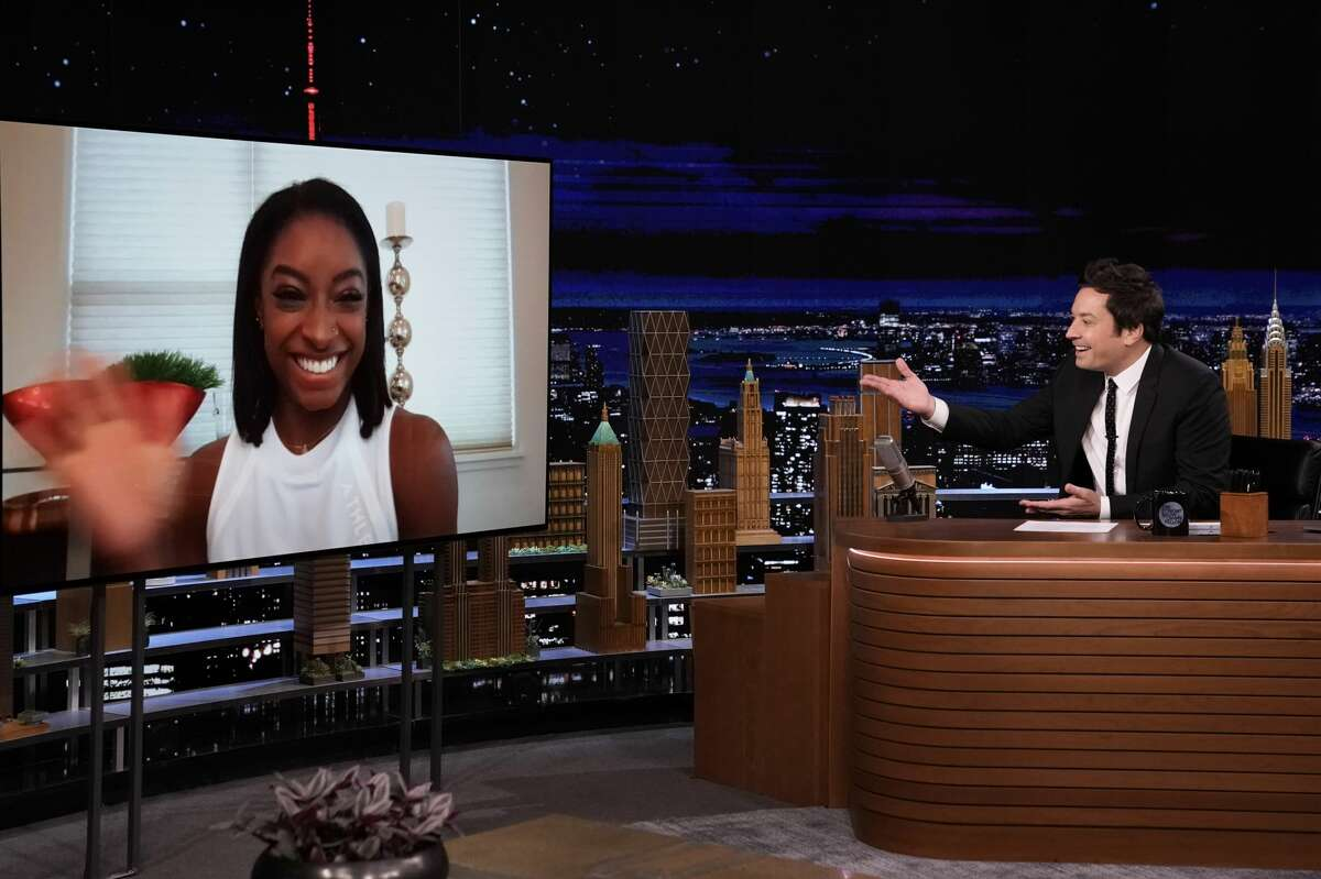 Gymnast Simone Biles during an interview with host Jimmy Fallon on Thursday, April 22, 2021.