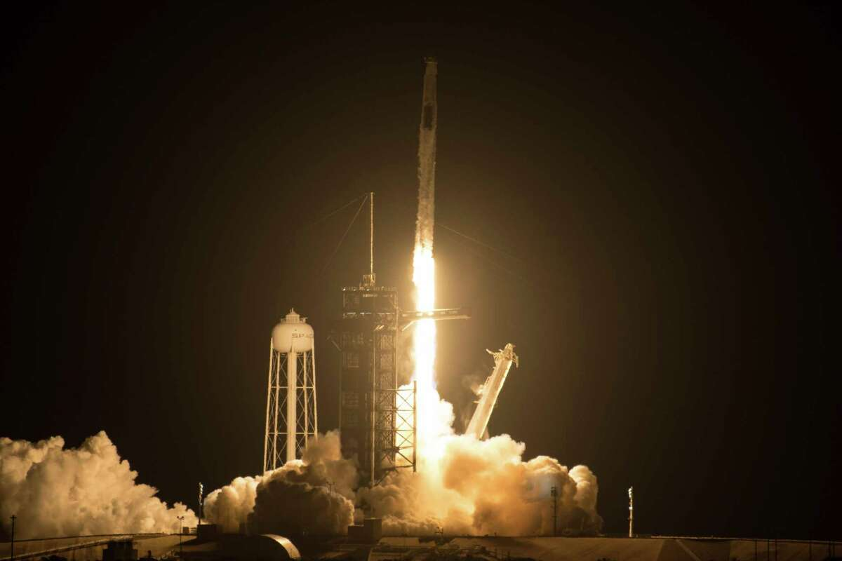 A SpaceX Falcon 9 rocket carrying the company's Crew Dragon spacecraft is launched on NASA's SpaceX Crew-2 mission to the International Space Station on Friday, April 23, 2021, at NASA's Kennedy Space Center in Florida.