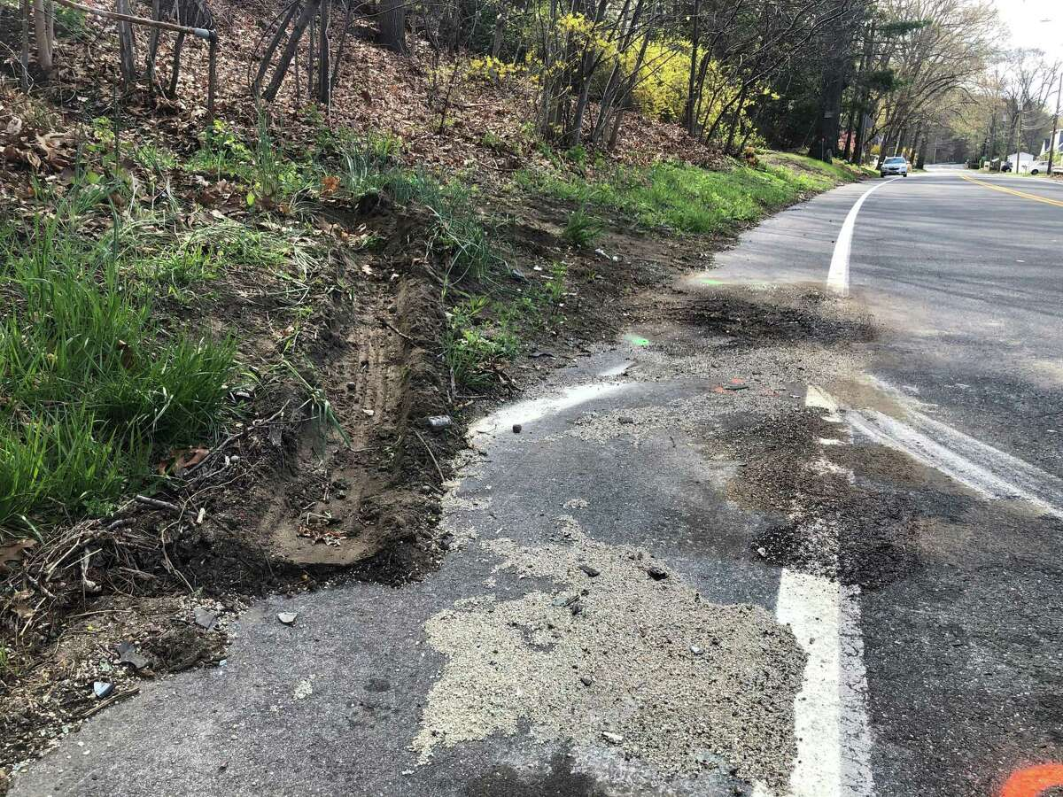 The area where police say there was a major crash on Route 34 in Seymour, Conn., around 10 p.m. Wednesday, April 21, 2021.