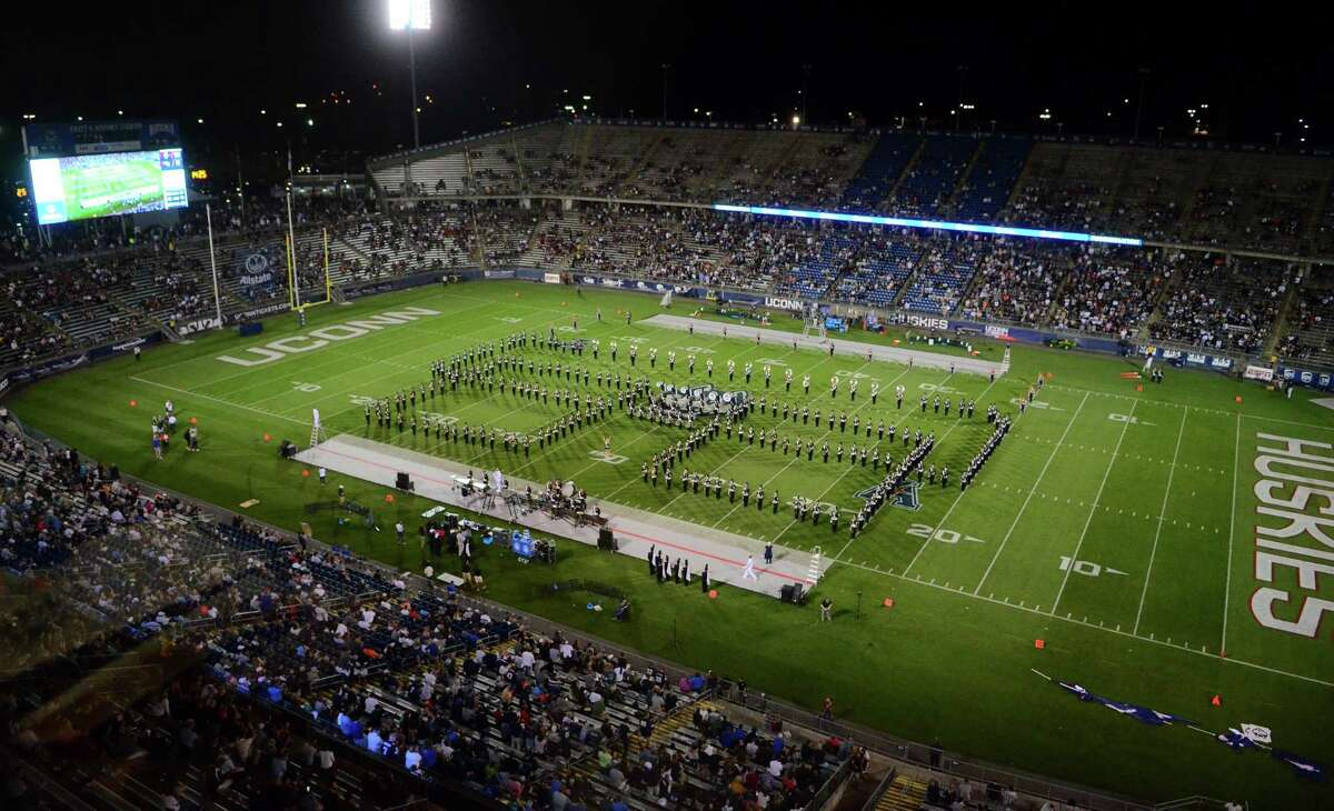 Opening day football action between UConn and Wagner at Rentschler Field in East Hartford in 2019.