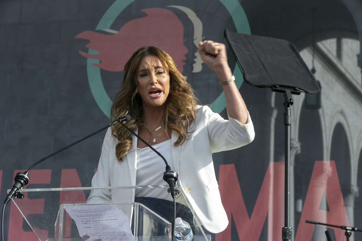 In this Jan. 18, 2020, file photo Caitlyn Jenner speaks at the 4th Women's March in Los Angeles.