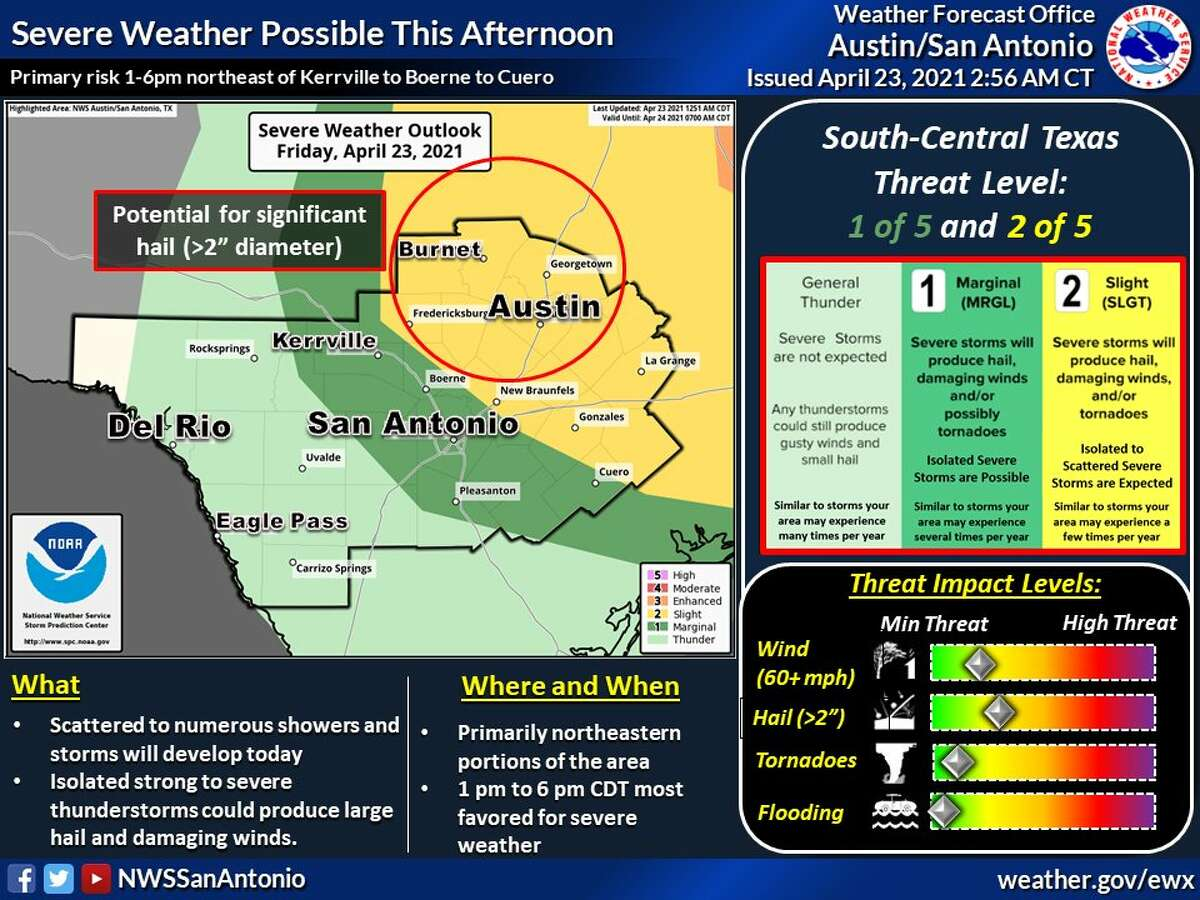 Severe weather threatens part of South Central Texas.