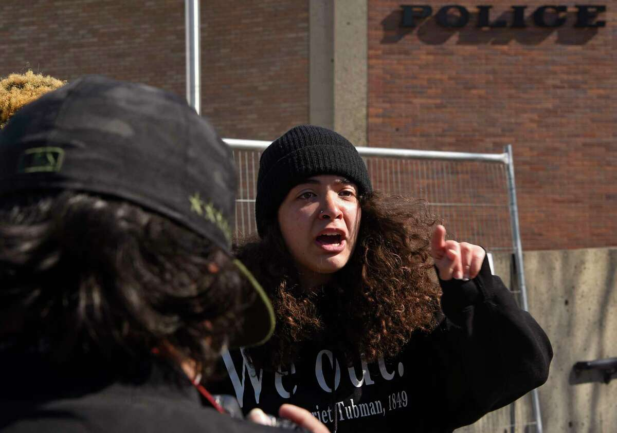 Activist Mikayla Foster speaks to the media about their experience being arrested during a protest in front of the Schenectady police headquarters on Friday, April 23, 2021 in Schenectady, N.Y. (Lori Van Buren/Times Union)