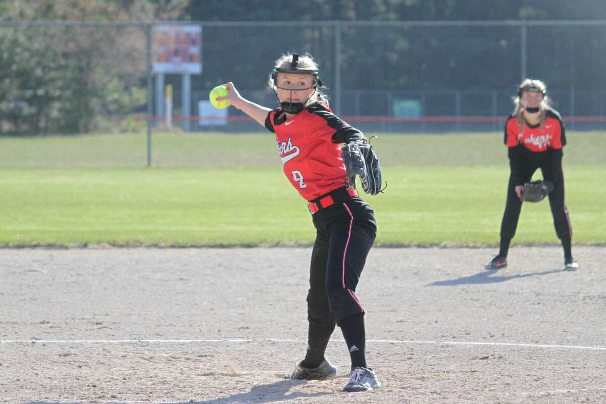 Bear Lake picks up its first softball wins of the season against Walkerville on April 22.