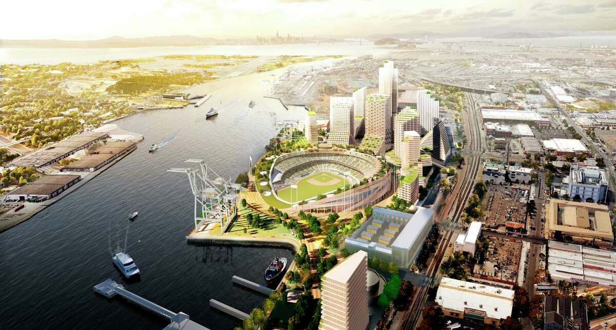 Renderings released in February show an Oakland A's ballpark at the Port of Oakland's Howard Terminal.
